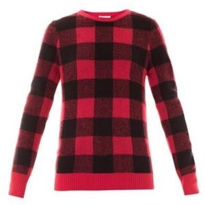 Equipment buffalo check red black wool sweater L